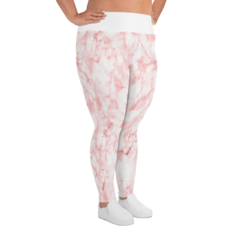 Pink marble plus size leggings size