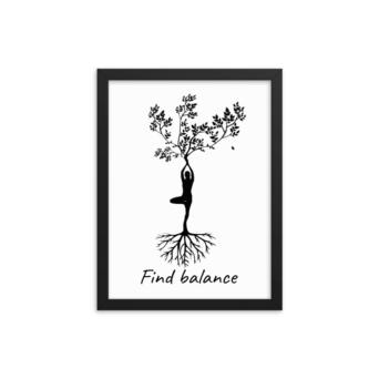 yoga tree pose wall decor black