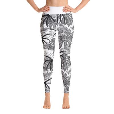 White Tropical Leaf Yoga Leggings
