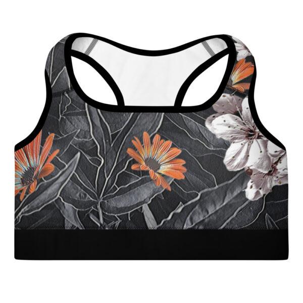 Black Floral Padded Sports Bra